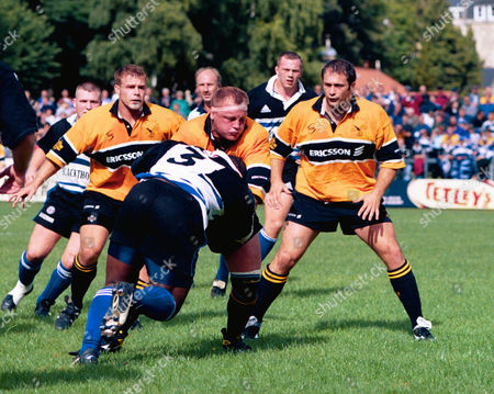 Victor Ubogu (Bath) is tackled by Will Green (Wasps) as Eben Rollitt (Right) and Paul Volley (Left Wasps) Bath v Wasps Allied Dunbar Premiership 5/9/98 Great Britain Bath