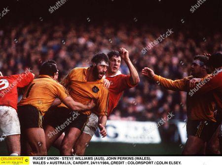 RUGBY UNION - STEVE WILLIAMS (AUS) JOHN PERKINS (WALES) WALES v AUSTRALIA CARDIFF 24/11/1984 Great Britain Cardiff