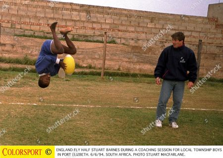 England fly half Stuart Barnes during a coaching session for local township boys in Port Elizbeth 6/6/94 England' s rugby tour to South Africa 1994 South Africa Port Elizbeth