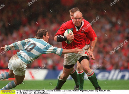 Craig Quinnell (Wales) tackled by Gonzalo Quesada (Argentina) Wales v Argentina World Cup 1999 1/10/99 Great Britain Cardiff