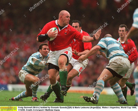 Craig Quinnell (Wales) tackled by Gonzalo Quesda (left) & Mario Ledesma (Argentina) Wales v Argentina World Cup 1999 1/10/99 Great Britain Cardiff