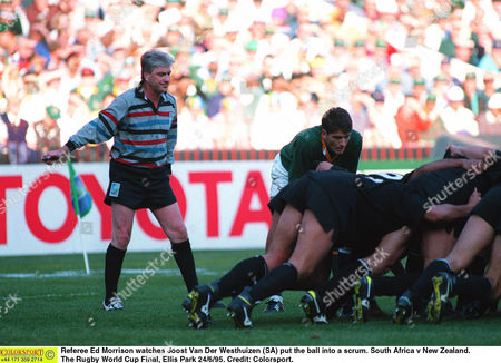 Referee Ed Morrison watches Joost Van Der Westhuizen (SA) put the ball into a scrum South Africa v New Zealand The Rugby World Cup Final Ellis Park 24/6/95 South Africa Johannesburg