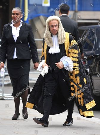 Lord Justice Leveson arrives at Westminster Abbey