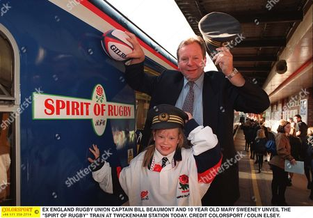 EX ENGLAND RUGBY UNION CAPTAIN BILL BEAUMONT AND 10 YEAR OLD MARY SWEENEY UNVEIL THE 'SPIRT OF RUGBY' TRAIN AT TWICKENHAM STATION TODAY Spirit of Rugby