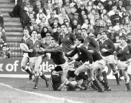 Roland Phillips - Wales Tackled by David Sole as Craig Chalmers closes in Scotland v Wales at Murrayfield 21/1/89 Great Britain Edinburgh 5 Nations Championship