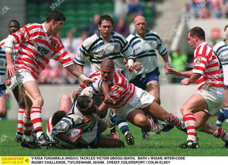 V'AIGA TUIGAMALA (WIGAN) TACKLES VICTOR UBOGU (BATH) BATH v WIGAN INTER-CODE RUGBY CHALLENGE TWICKENHAM 25/5/96 Great Britain London