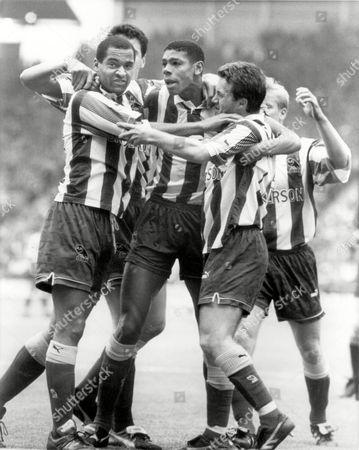 Carlton Palmer - Sheffield Wednesday Celebrates with Mark Bright & Andy Sinton Sheffield United v Sheffield Wednesday 23/10/93 Sheff Utd 1 Sheff Wed 1