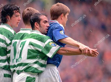 Paulo Di Canio (Celtic) Richard Gough (Rangers) Glasgow Rangers v Celtic 28/9/96 Rangers 2 Celtic 0
