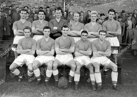 Stock Picture of Workington Football Club 1955/56 Back row : L to R J Fleming J Vitty W Billington D Stokoe G Aitken R Dunlop Front : D Jones J Bertolini J Dailey E Whittle N Mitchell