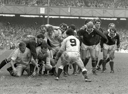 Rugby Union - 1985 Five Nations Championship - England 10 Scotland 7 England's Gary Pearce gets the ball back to Richard Harding (#9) at Twickenham 5N 1985: England 10 Scotland 7