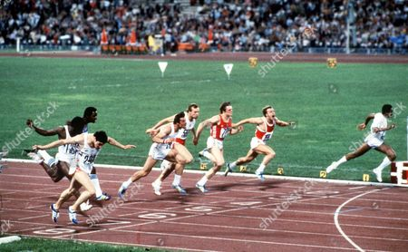 Alan Wells (GBR) lane 8 crosses the line to win the 100m Final Moscow Olympics 1980 USSR Moscow Olympic Games