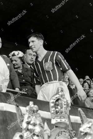 Roy Clarke (City) arrives at the top of the Wembley steps to receive his medal Manchester City v Birmingham City FA Cup Final 1956 at Wembley FA Cup Final: Man City 3 Birmingham 1