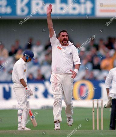 Merv Hughes (Aus) celebrates the wicket of Andrew Caddick England v Australia 4th test at Headingley 22-26/7/1993 1993 Ashes: 4th Test