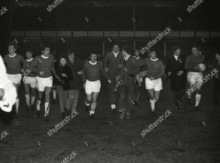 Football : Everton v West Bromwich Albion 01/04/1970 Everton players on their lap of honor after winning the League Championship title L to R Joe Royle Howard Kendall John Hurst Jonny Morrissey ---- Tommy Wright Brian Labone and Colin West Everton v WBA