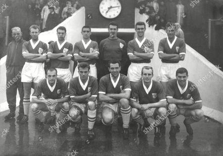 Shrewsbury Town team 1960/61 Back row L to R T Seymour (Tnr) G Baker A Harley C Whitaker P Miller G Walters J Wallace Front row : R Ambler M Starkey A Rowley N Hobson G Skeech