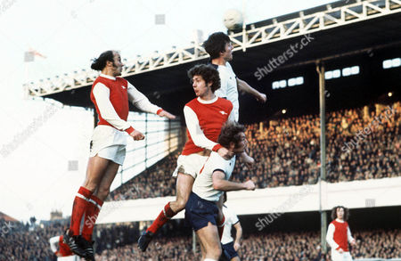 Brian Kidd and Terry Mancini (Arsenal) Roger Davies (Derby) Arsenal v Derby County 16/11/1974 Arsenal 3 Derby 1
