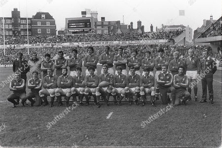 Rugby Union - 1984 Five Nations Championship - Wales 9 Scotland 15 The Wales team group before the game at Cardiff Arms Park on 21/1/84 Back (left to right): John West (touch-judge) ? Dai Richards G Evans David Pickering Robert Norster Richard Moriarty John Perkins Robert Ackerman Bleddyn Bowen Mark Douglas John Bevan (coach) Owen Doyle (referee) Daviud Burnett (touch-judge)Front: Mike Watkins R Giles Staff Jones Rhys Morgan Adrian Hadley William James Eddie Butler (captain) Malcolm Dacey Howell Davies Mark Titley Ian Stephens (20) Mark Brown (21) 5N 1984: Wales 9 Scotland 15