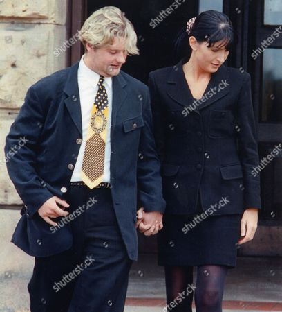 Stock Photo of Julie Ann Brown With Her Boyfriend Richard Lee Outside Chester Crown Court; She Was Found Guilty Of Theft In 1996 From Car Dealer Stratstone 1996. Original Library Print In Julie Ann Brown Packet.
