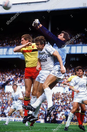 Ray Clemence (Spurs) goalkeeper punches clear from Mark Falco and John McClelland (Watford) 17/08/1985; Tottenham Hotspur v Watford FootballColorsport / Andrew Cowie Spurs 4 Watford 0