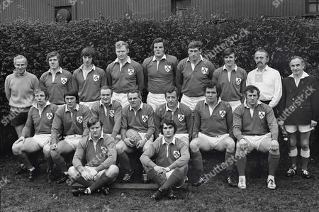 Rugby Union - 1972 / 1973 New Zealand Tour of Britain Ireland France and North America - Ireland 10 New Zealand 10 The Ireland team group before the game at Lansdowne Road on 20/1/73 Back row: Tough-judge Fergus Slattery Tom Grace Terry Moore Kevin Mays Willie John McBride John Moloney M Jones (referee) touch-judge Sitting: Jeremy Davidson Ken Kennedy Mike Gibson Tom Kiernan (captain) Mike Flynn Sean Lynch Ray McLoughlinOn Ground: Barry McGann James Davidson Ireland 10 NZ 10