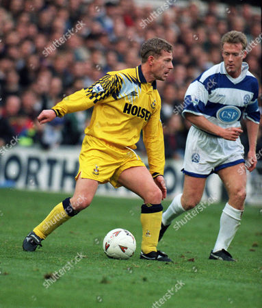 Stock Photo of Micky Hazard (Spurs) Simon Barker (QPR) Queens Park Rangers v Tottenham Hotspur 27/11/93 QPR 1 Spurs 1
