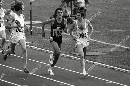 Athletics - 1976 Montreal Olympics - Men's 5000m Round One Heat Three Great Britain's Brendan Foster (364) holds off New Zealand's Rod Dixon (689) and Norway's Knut Kvalheim (683) to win the race In the final Foster finished fifth Dixon fourth and Kvalheim ninth 1976 Montreal Olympics