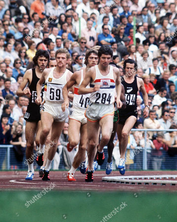 Athletics - 1972 Munich Olympics - Men's 1500m Final From left to right in the Olympiastadion Munich West Germany: New Zealand's Rod Dixon (#688) Belgium's Herman Mignon (#59) West Germany's Paul-Heinz Wellmann (#408) Great Britain's Brendan Foster (#284) and New Zealand's Tony Polhill (#694) Dixon won the bronze Foster finished fifth Migon sixth Wellmann seventh and Polhill ninth 1972 Munich Olympics - Men's 1500m