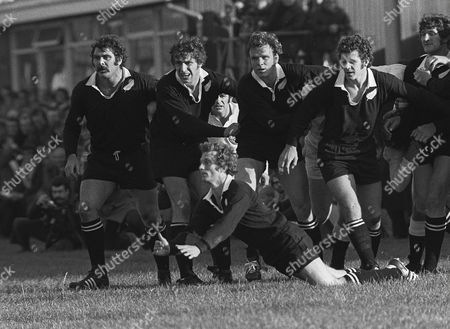 Rugby Union - 1972 / 1973 New Zealand Tour of Great Britain & France - Western Counties 12 New Zealand 39 Left to right All Blacks Keith Murdoch Peter Whiting Lindsay Clark and Ronald Urlich with George 'Lyn' Colling diving in front at Kingsholm Gloucester W. Counties 12 NZ 39