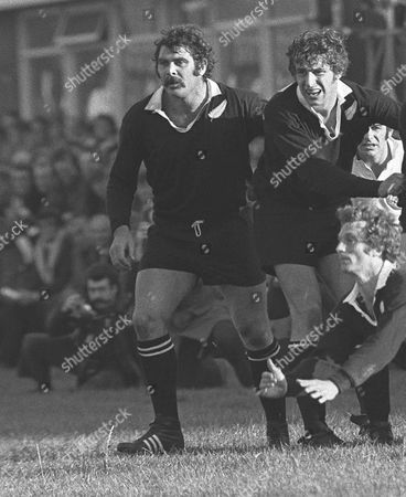 Rugby Union - 1972 / 1973 New Zealand Tour of Great Britain & France - Western Counties 12 New Zealand 39 Left to right All Blacks Keith Murdoch Peter Whiting and George 'Lyn' Colling diving in front at Kingsholm Gloucester W. Counties 12 NZ 39