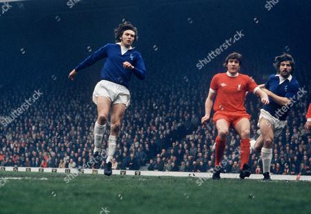 Stock Image of George Telfer (Everton) Emlyn Hughes and Bob Latchford (right) 20 April 1974Liverpool v EvertonAnfield Liverpool 0 Everton 0
