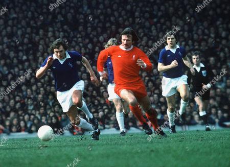 Stock Photo of George Telfer (Everton) Tommy Smith (Liv) 3 April 1976Liverpool v Everton Liverpool 1 Everton 0