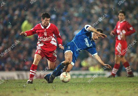 Mark Ward (Birmingham) Robbie Fowler (Liverpool) Birmingham City v Liverpool FA Cup 3rd rd 7/12/1995 FA Cup 3R: Birmingham 0 Liverpool 0