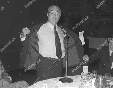 Reg Gutteridge (ITV TV Boxing Commentator) with his comical 'after dinner speaking' Rugby World awards 24/6/1982 Reg Gutteridge