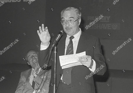 Reg Gutteridge (ITV TV Boxing Commentator) with his 'after dinner speaking' Rugby World awards 24/06/1982 Reg Gutteridge