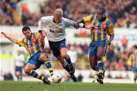 Football Steffen Iversen (Tottenham) Francis Benali (left) Ulrich van Gobbel (Sotn) Tottenham Hotspur v Southampton 26/12/1996 Spurs 3 Southampton 1