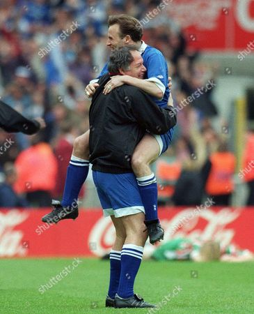 Barry Fry Birmingham Manager celebrates with Mark Ward at the final whistle Birmingham City v Carlisle United Auto Windscreens Shield Final 23/04/1995 Wembley 1995 Auto WS Final: Birmingham 1 Carlisle Utd 0