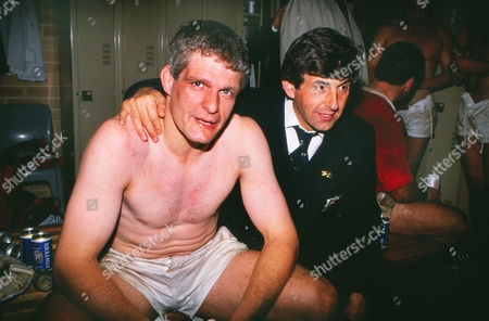 Rugby Union - 1989 British Lions Tour to Australia - Third Test: Australia 18 British Lions 19 Lions head coach Ian McGeechan right and captain Finlay Calder celebrate victory in the changing rooms at the Sydney Football Stadium 3rd Test: Australia 18 Lions 19