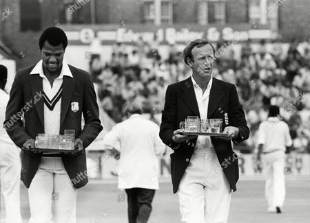 Colin Croft (left) and Derek Underwood (Eng) bring out the drinks 1st test at Trent Bridge England v West Indies 05/06/1980 England v West Indies at Trent Bridge