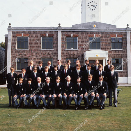 Stock Image of Rugby Union - 1971 England Tour of the Far East Full Squad team group before departure Back l-r: Peter Wheeler John Gray Rodney Webb Jim Broderick Peter Glover Bob Lloyd David Roughley Alan Cowman John Finlan Middle: RFU referee David Robinson Jeremy Janion Mike Hannell Peter Rossborough Chris Ralston Roger Uttley Charlie Hannaford Fran Cotton Tony Neary Front: Jan Webster Nigel Starmer-Smith John Burgess RFU official Budge Rogers (captain) Bob Weighill Don Rutherford David Larter Chris Wardlow England - 1971 Far East Tour