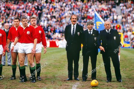 Rugby Union - 1989 British Lions Tour to Australia - Third Test: Australia 18 British Lions 19 Right Lions coaches Roger Uttley Ian McGeechan and Clive Rowlands before kick-off at the Sydeney Football Stadium Left are players Scott Hastings Finlay Calder and Dai Young 3rd Test: Australia 18 Lions 19