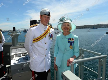 Stock Image of Prince Harry and Quentin Bryce at Garden Island