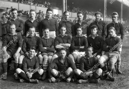 Stock Picture of Rugby Union - 1922 County Championship Final - North Midlands 0 Gloucestershire 19 North Midlands Team Group before the game at Villa Park Back (left to right): D Drummond W Wilkinson B Jacot R Baker E H Edwards A C Tomlinson T A Bucklow Sitting: S Jenkins H W Hill G H Gross A Woodward L J Barratt J D Browne H E Warwick Ground: G Foster A P Wayte H C Price 1922 County Championship Final: N Midlands 0 Gloucestershire 19