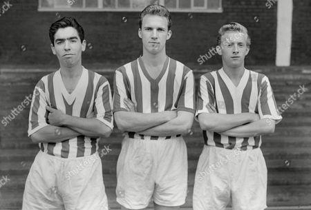Football L to R Alexander Bain John (Jack) Connor Denis Law Huddersfield Town 13/08/1958 Huddersfield