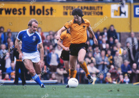 Stock Photo of Football Colin Brazier (Wolves) and Mick Mills Ipswich Town v Wolverhampton Wanderers 01/09/1980