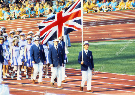 Athletics - 1972 Munich Olympics - Opening Ceremony Show jumper David Broome carries the Union Jack in the Olympiastadion Munich West Germany 1972 Munich Olympics - Opening Ceremony
