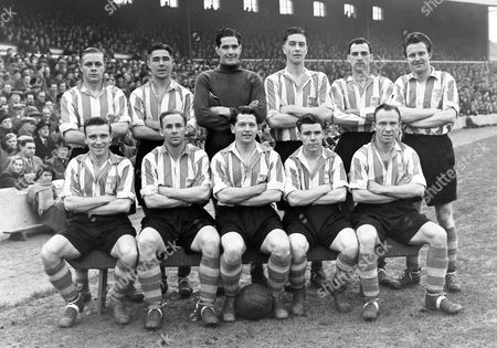 Football : Blackburn Rovers v Stoke City 02/12/1954 Stoke City team group Back row : l to R G Bourne F Mountford W Robertson K Thomson J McCue J Sellars Front : J Malkin F Bowyer A Martin J Hutton H Oscroft Blackburn v Stoke