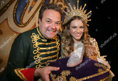 Hal Cruttenden as Dandini and Zoe Salmon as Cinderella