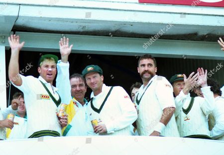 Cricket - 1993 Ashes 4th Test - England vs Australia The Australia team celebrate after winning the match by an innings and 148 runs at Headingley and taking an unassailable 3-0 lead in the series Left to right: Shane Warne Bobby Simpson (Manager) Steve Waugh and Merv Hughes 1993 Ashes: 4th Test