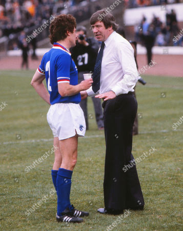 John Greig Rangers manager talks with Sandy Jardine before extra time Glasgow Rangers v Dundee united Scottish Cup Final 1981 09/05/1981 Glasgow Rangers v Dundee united Scottish Cup Final
