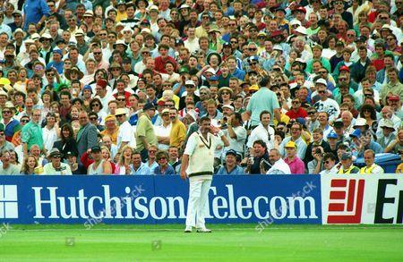 Cricket - 1993 Ashes 4th Test - England vs Australia Merv Hughes jokes with the Headingley crowd 1993 Ashes: 4th Test